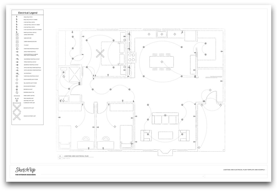 New Course Lighting And Electrical Plan Template For Sketchup Layout Sketchup For Interior Designers