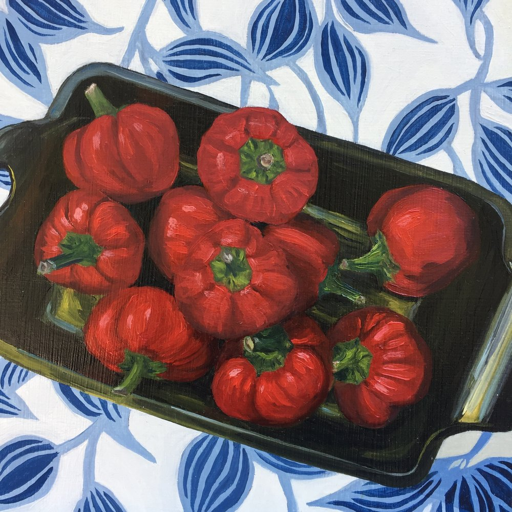 """Little Red Chile Peppers, oil on panel, 8""""x8"""""""