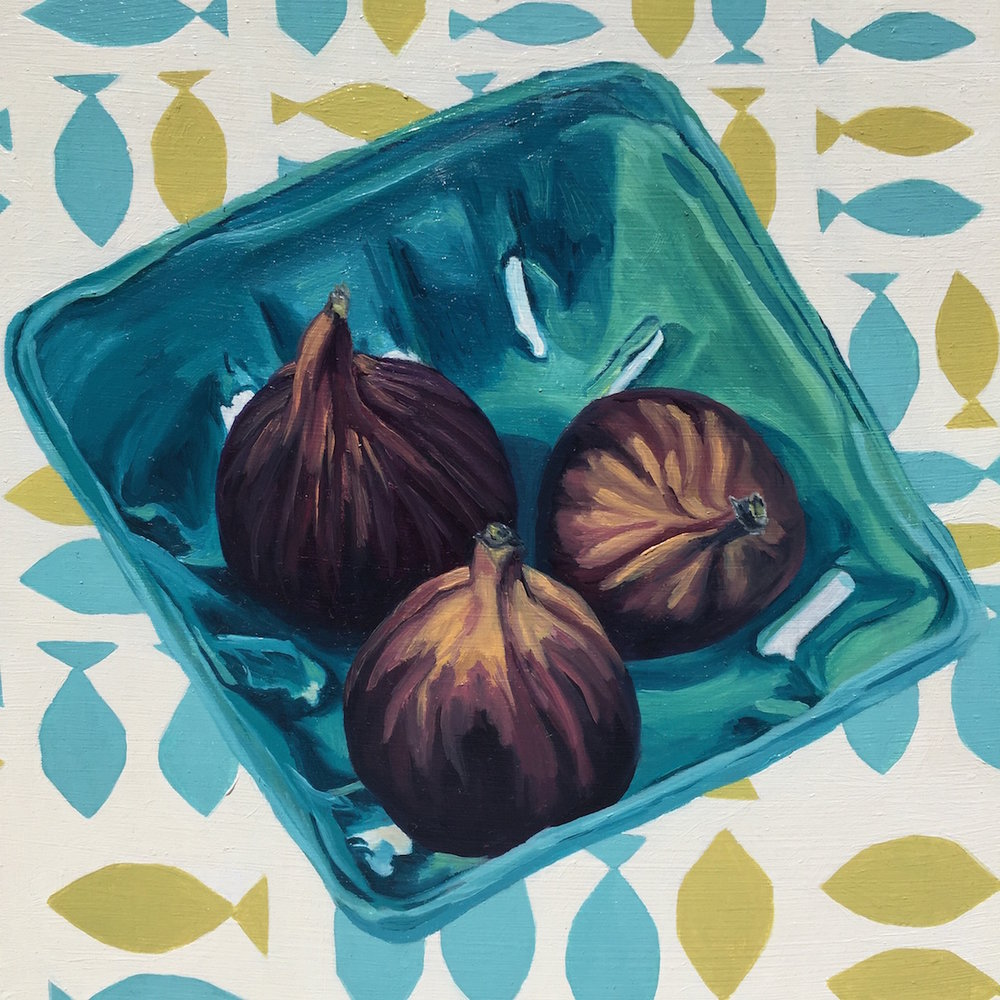 """Figs in a Basket, oil on panel, 8""""x8"""""""