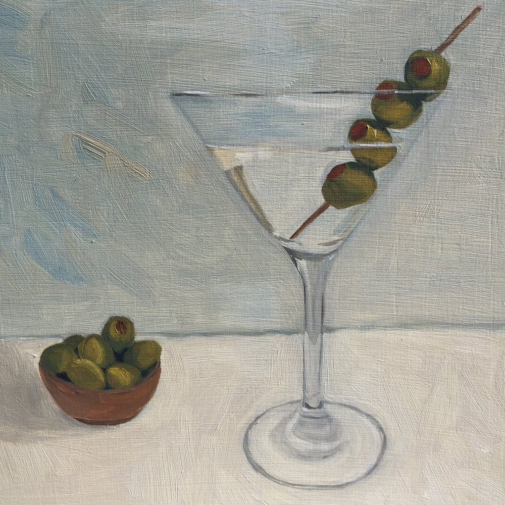 """Martini, oil on panel, 8""""x8"""", SOLD"""