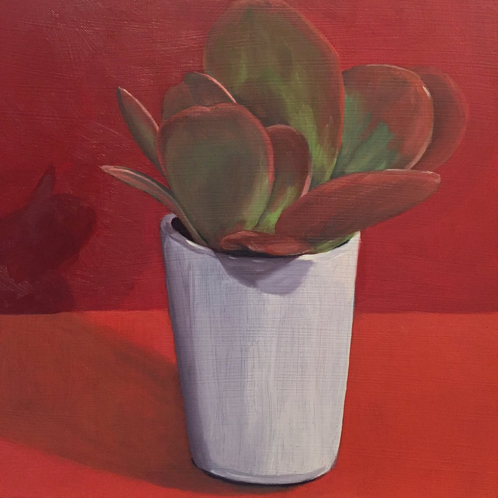 """Paddle Plant, oil on panel, 8""""x8"""""""