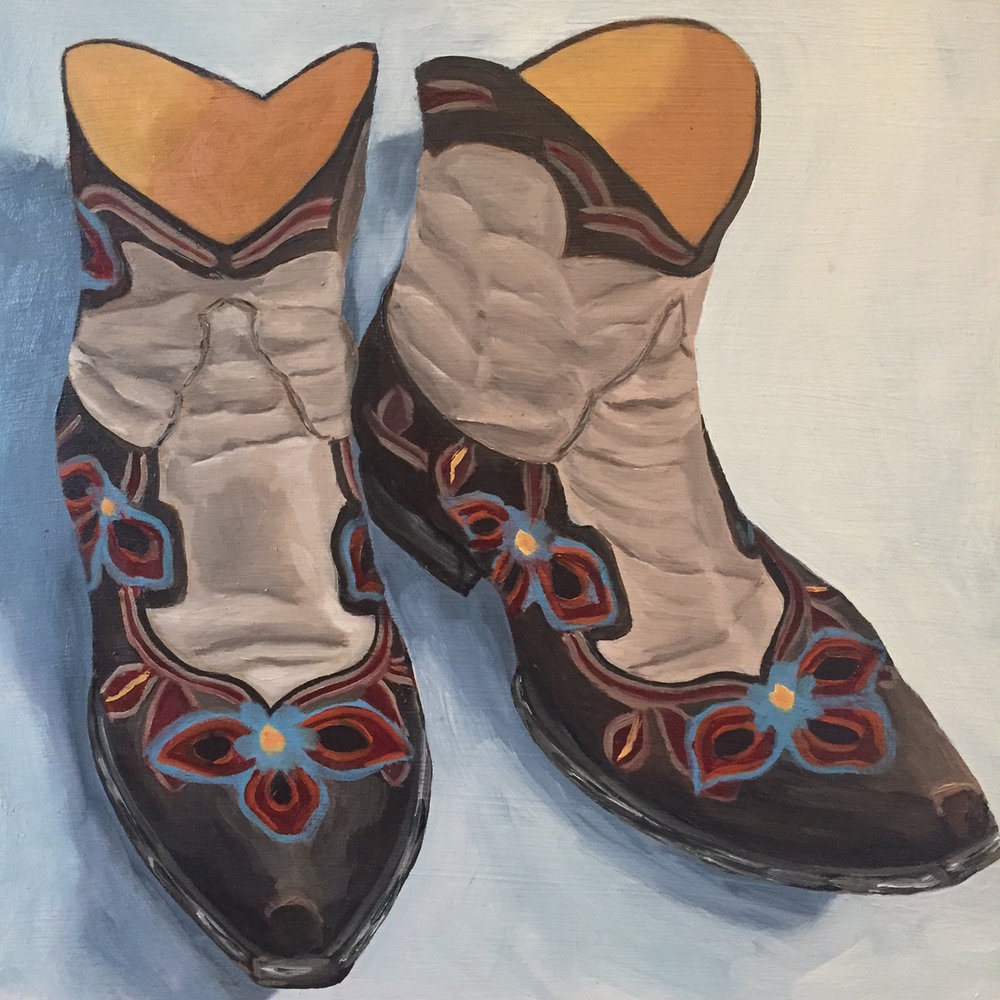 """Dancing Boots, oil on panel, 8""""x8"""""""