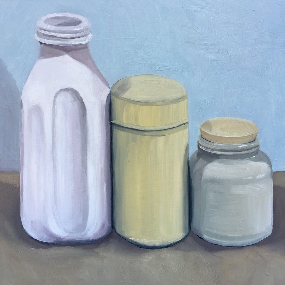 """Three Containers, oil on panel, 8""""x8"""""""