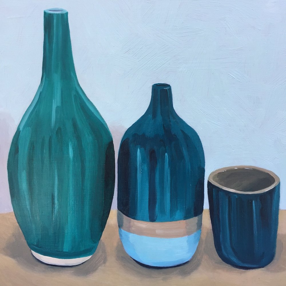 """Two Jugs and a Cup, oil on panel, 8""""x8"""""""