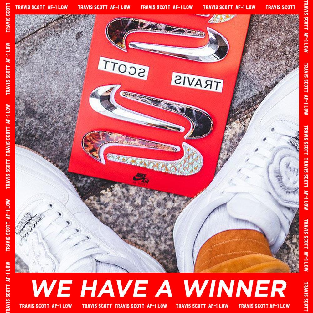 Instagram post for the Air Force 1 x Travis Scott Sneaker winner