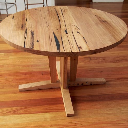 Recycled Messmate Round Table - Round table in Recycled Messmate to fit into a confined space