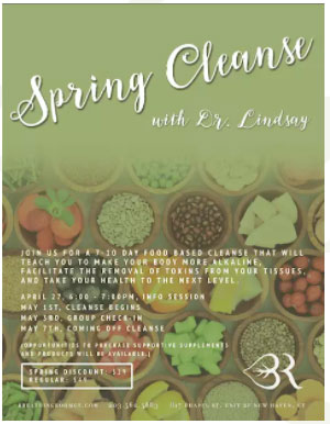 April 27th 6:00- 7:00 Supportive Spring Cleanse Introduction and Q&A. Breathing Room Yoga Center, New Haven CT