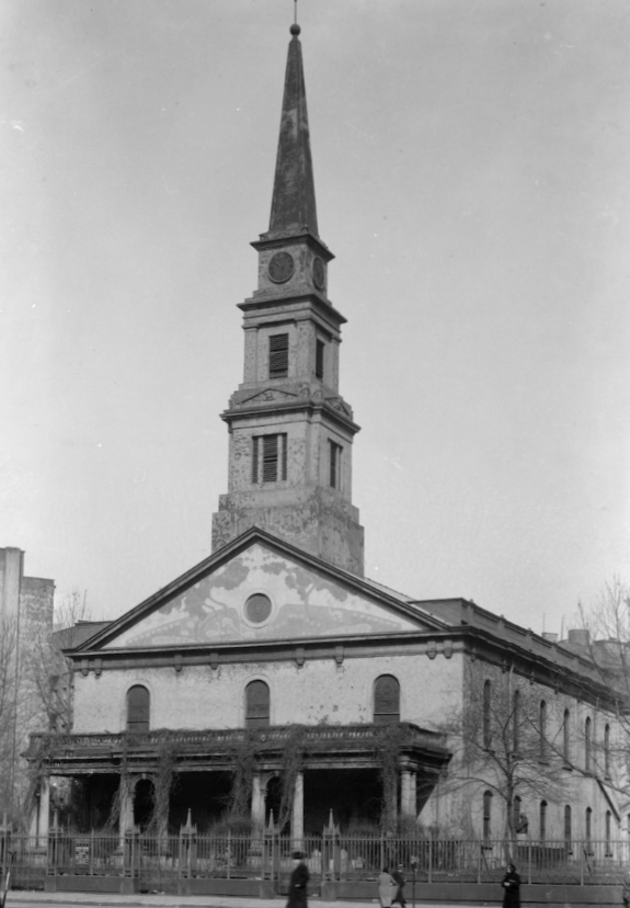 Church of St. Mark's-in-the-Bouwerie, architect Ithiel Town, et al., 1799 (photograph, 1936).  [Public Domain. Courtesy of Library of Congress, Historic American Buildings Survey.]