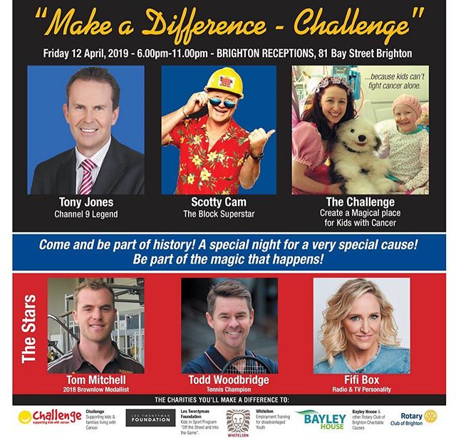 In just two weeks' time @rotarybrighton will hold their Annual Night of Stars charity event at Brighton Receptions. A fantastic way to support local charities including @challengecancer and mingle with @scottycamofficial, @fifi_box, @woodbridge.todd, @tommitchell6 and Tony Jones. Tickets are still available: nightofstars.com.au