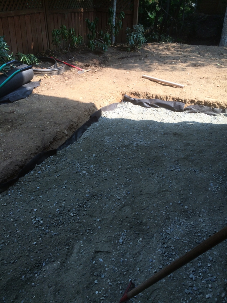 paver patio prep - road base and filter fabric