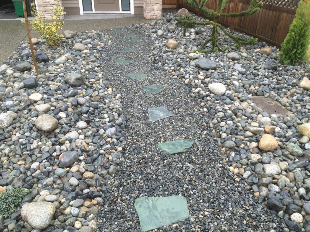 river rock, gravel and slate - central nanaimo landscaping