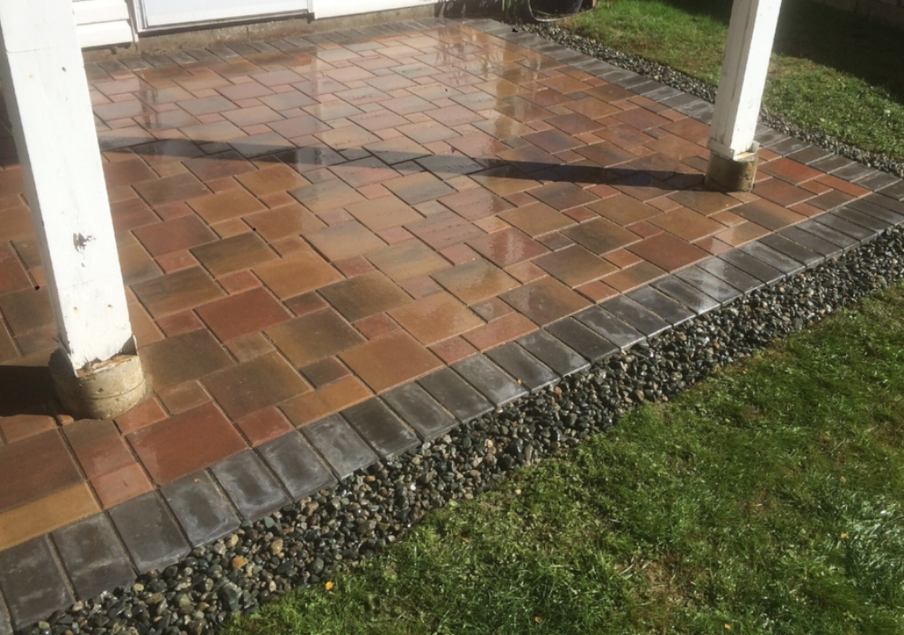 Indian summer pavers with drain rock border - landscaping nanaimo