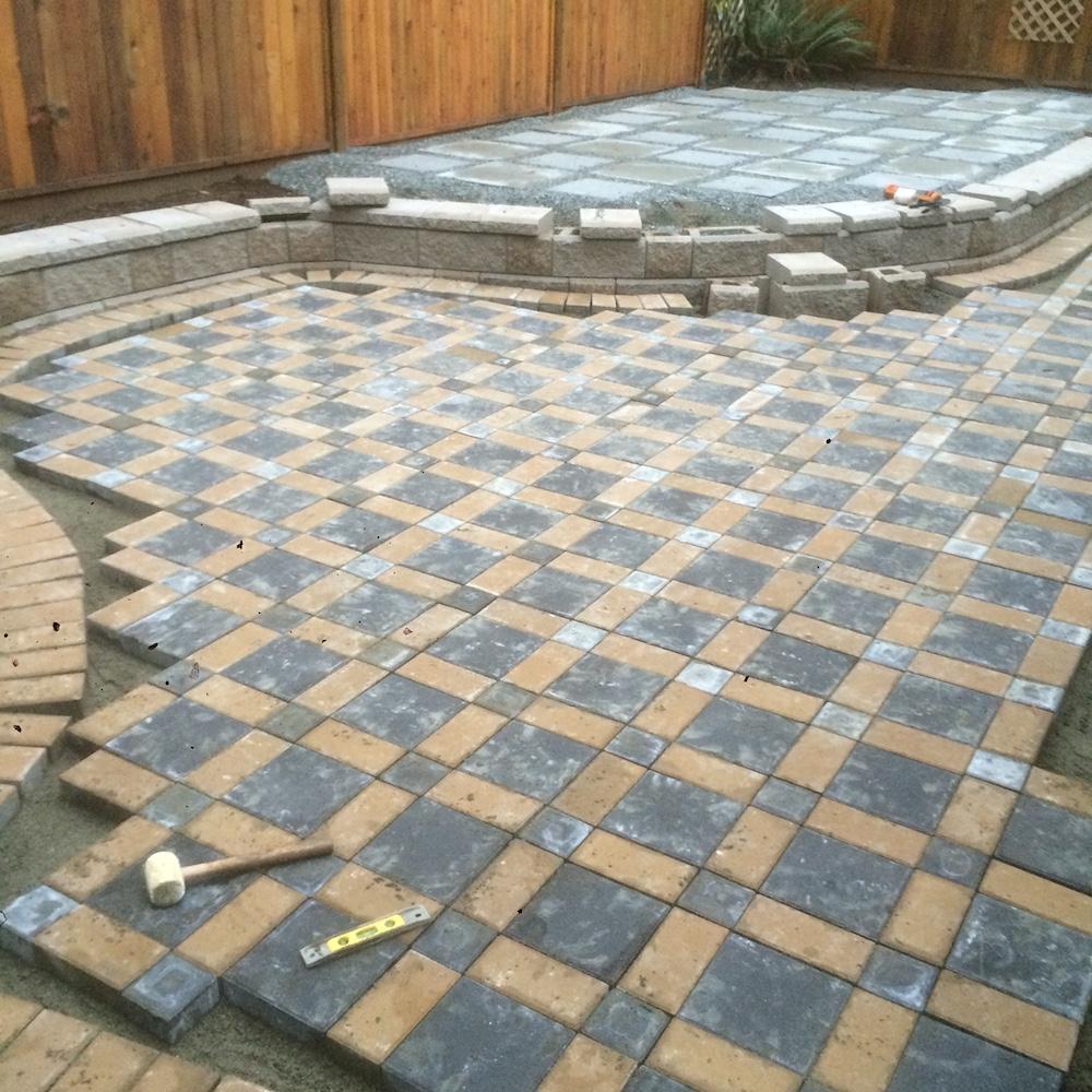 allan block wall - paver patio - gabriola island