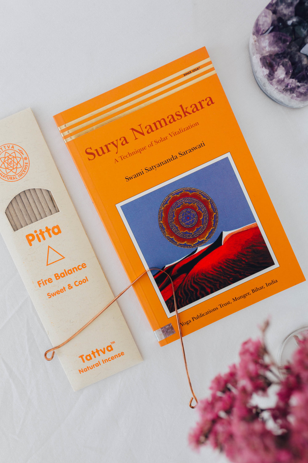 --- $25 gift ---- + 'Surya Namaskara' book - the art and science of Sun Salutations (an amazing book) + Pitta incense + Copper Tongue Scraper