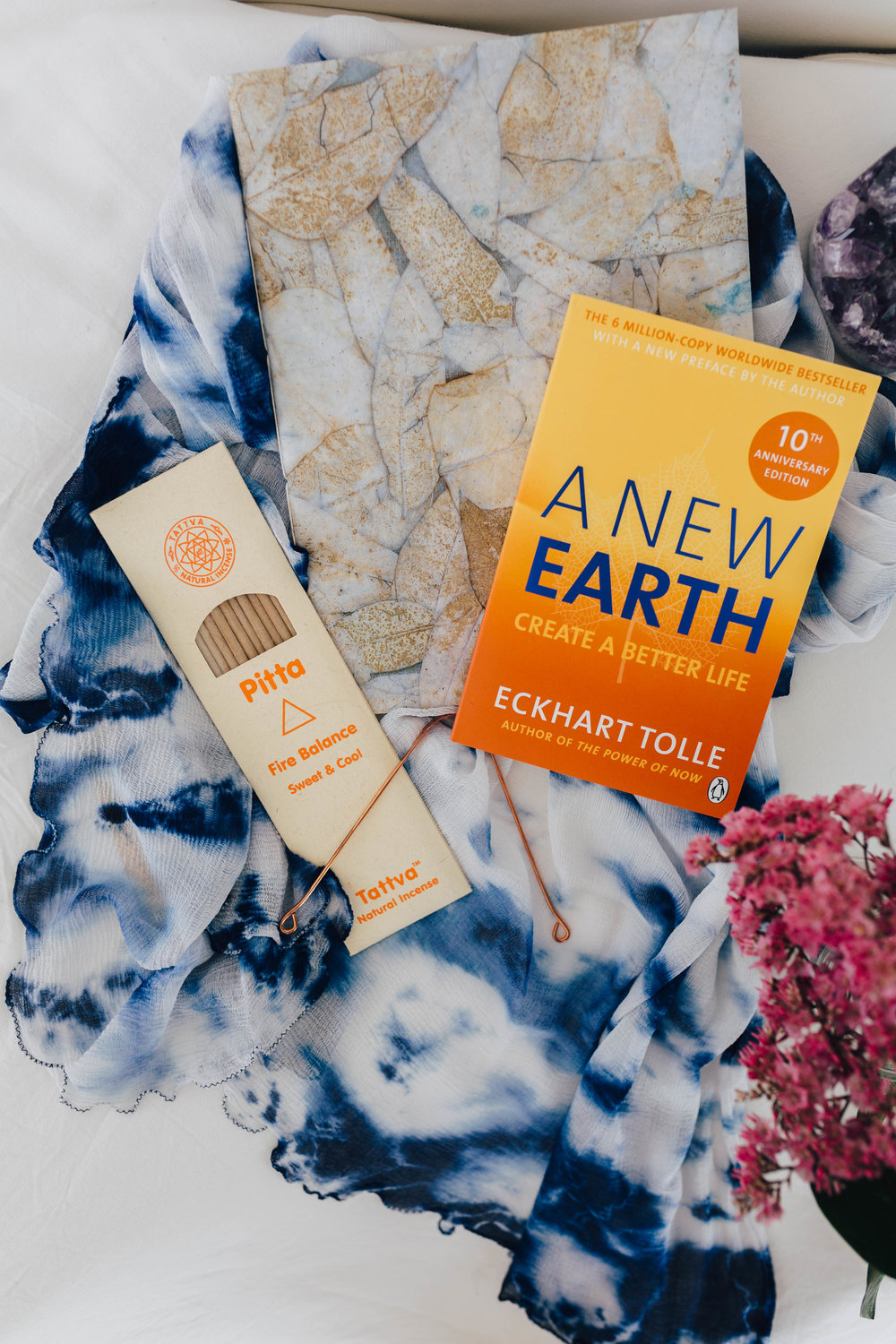 --- $100 gift ---- + Long silk georgette hand-dyed indigo scarf from India + 'A New Earth' book by Eckhart Tolle + A4 handmade paper notebook from Auroville, India + Pitta incense + Copper Tongue Scraper