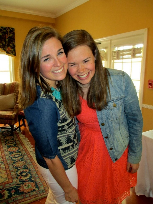 Anna and I in the Chi O house spring of 2013. A much brunette-r me.