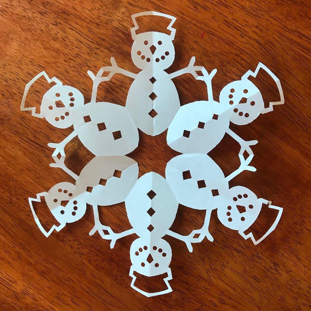 snowman paper snowflake