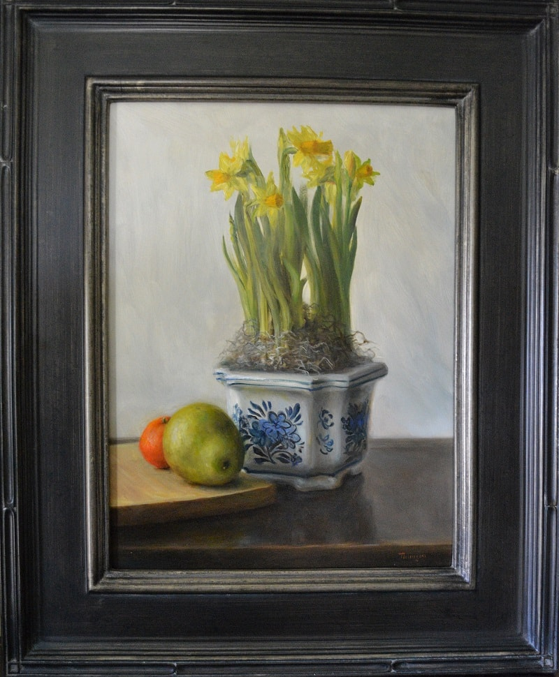 """Potted Daffodils"" in the frame."