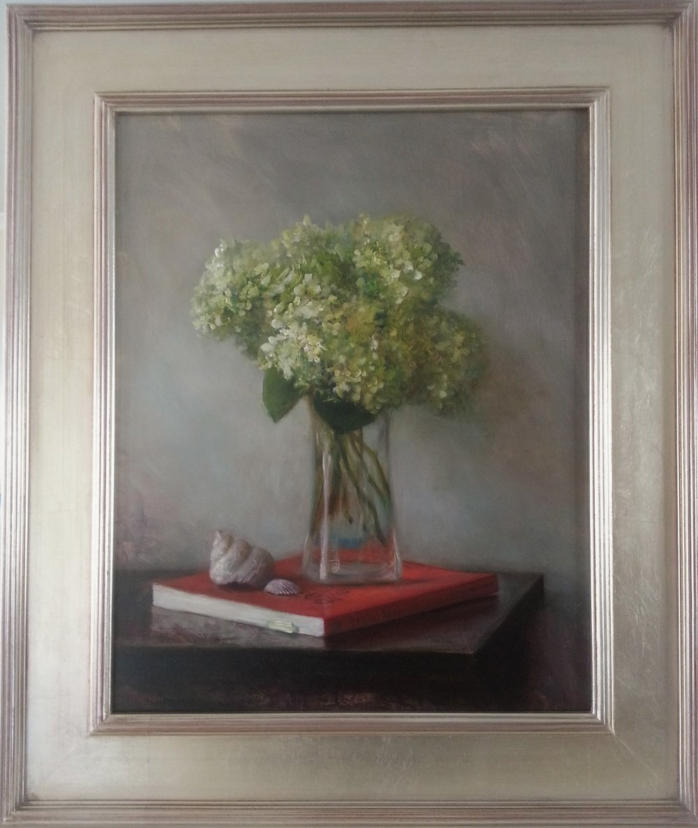 """Hydrangeas, Seashells, and Book"" 22.5""x 26.5"" in frame."
