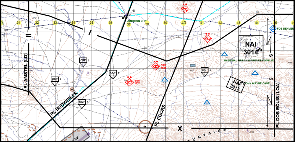 Figure 1 – Typical Troop-level graphics for Troop zone reconnaissance between PL AMSTEL and PL DOS EQUIS, with enemy situation overlay depicting known and templated enemy counter reconnaissance forces.