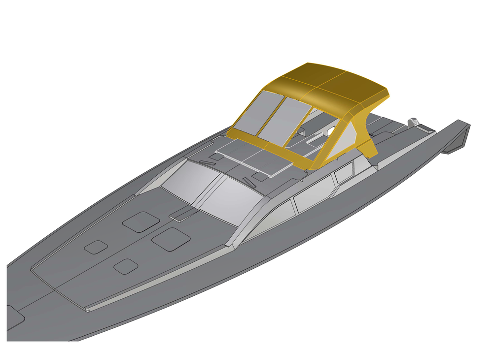 We were able to precisely model the dodger in 3D and connect it perfectly to the model generously provided by RM Yachts.