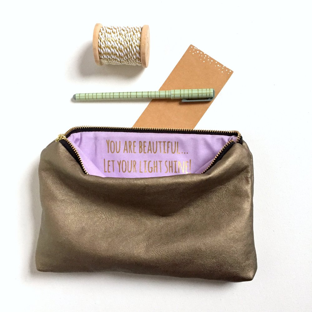 Gold Custom Message Zip Bag