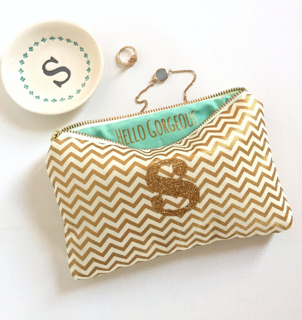 Personalized Gold Chevron Bag