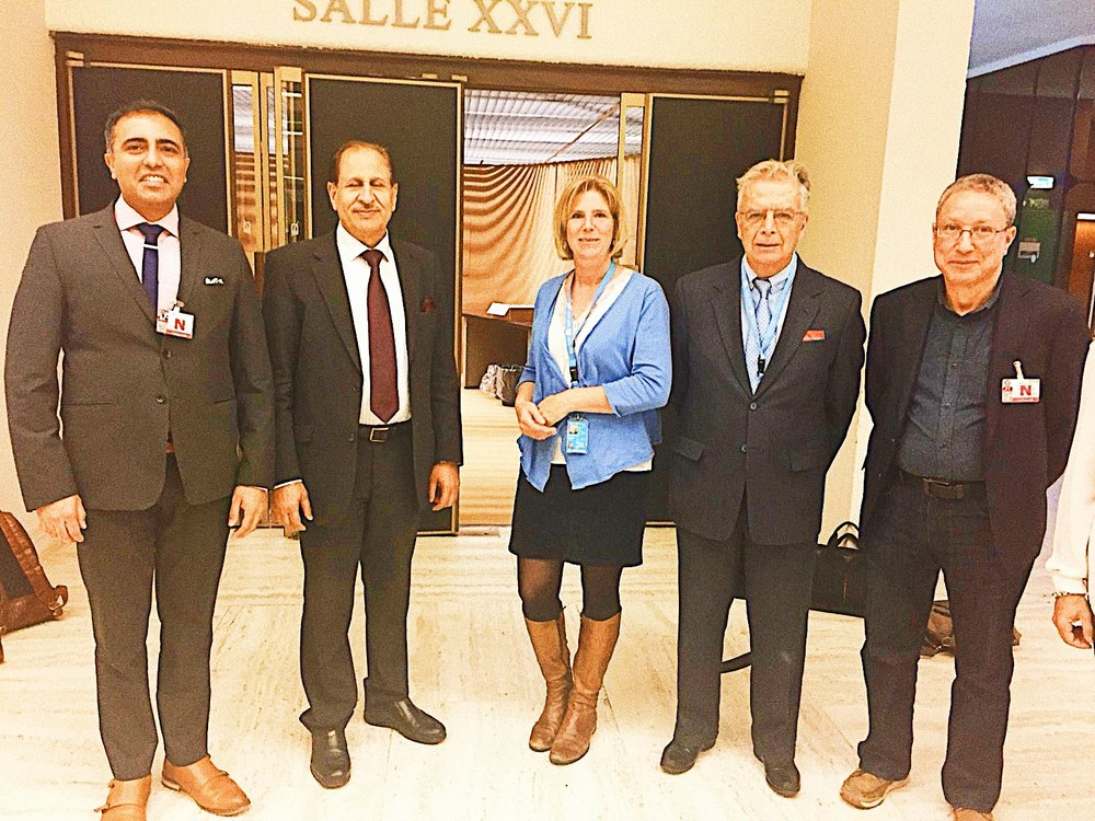 Inder Comar (left) with Naji Haraj of the Geneva International Centre for Justice, moderator Daniela Donges, Dr. John Pace (former United Nations human rights diplomat from 1966-1999) and Tahar Boumedra (former chief of the Human Rights Office of the United Nations Assistance Mission for Iraq (UNAMI).