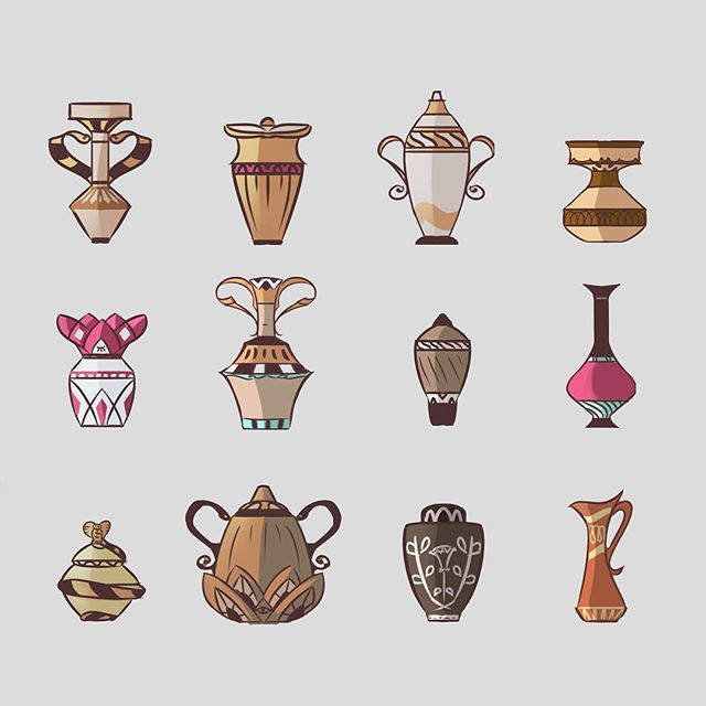 More Egyptian Pots! These are helping us figure out Egyptian culture and style for From the Dust. . . . #webcomic #bible #bookofmormon #conceptart #graphicnovel #comic #comics #illustration #drawing #instacool #anthro #lds #mormon #michaelmercerart #mikescrazyideas #fromthedust #lifestyle #pots #egypt #pottery