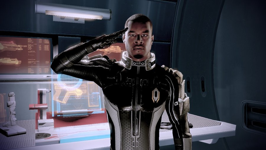 Jacob Taylor from Mass Effect Two isn't non threatening, but he's also squarely in your corner, ready to serve.