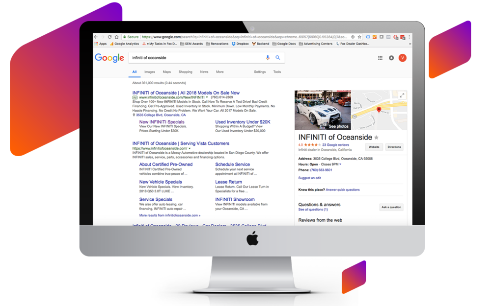 Premium SEO - Rank higher in organic search with our unique, relevancy-infused content paired with ongoing link building. Fox websites live and breathe at the top of search pages. Our custom dealer sites and services are tailored to magnetically pull your listings to the top of organic search results.