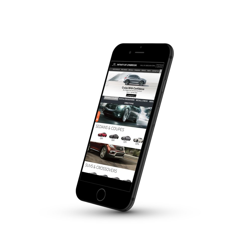 Mobile Platform   We take a mobile-first approach with all of our sites, with fully responsive designs that maximize the use of space, highlighting your dealership's inventory and maximizing conversions