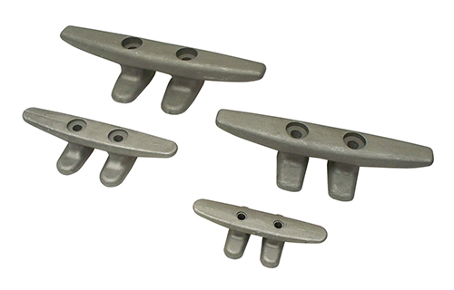 OPEN BASE CLEATS - These cast aluminum cleats are sand blasted to give a clean gray matte finish. Each cleat is designed with an extra wide footprint for added strength. As well, each cleat has an enlarged counter-sunk hole for easy installation with a socket. Can be through bolted or lag bolted. Available in two styles.