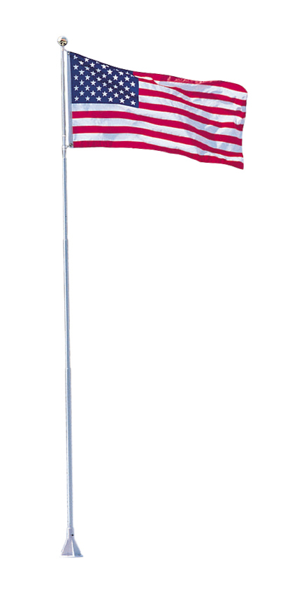 FLEXI-FLAG™ - These all-fiberglass grey flagpoles are the answer to rusty metal or painted wooden poles. Designed to withstand high winds, these non-conductive poles will never rust or corrode and are great for docks, decks, marinas, patios, cottages or home use. Aluminum bases are powder grey coated for long life. Brass plated pole ball tip and stainless steel mounting hardware included. 18 Ft. Model comes with swivel system to greatly reduce flag tangles, while 21 Ft. Model comes with a conventional pulley and line system.