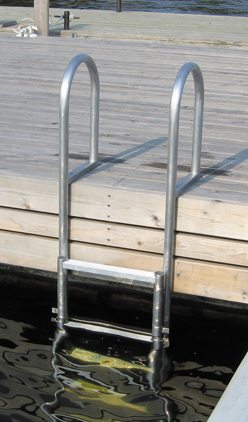 ALUMINUM SLIDE-UP - These up-&-out ladders slide easily up and out of the water when not in use. Heavy marine grade aluminum rungs and hangers mean that you'll have long and reliable service and an attractive addition to your marine application. Convenience cords for raising and lowering the steps may be added to this ladder at any time.Rail Height: 19-3/4