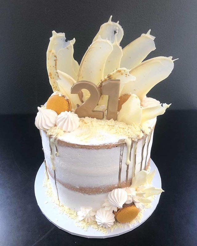 White choc drip with cream and caramel drizzle for 21st Birthday Celebrations #cake #party #order your cake now #CakeShopConcord