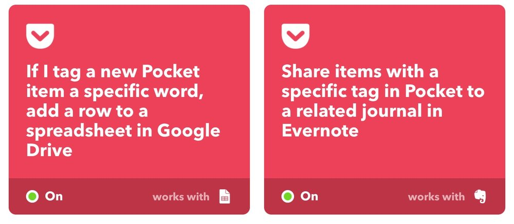 Two of my favorite IFTTT applets. Integrating it to my Pocket and Evernote.