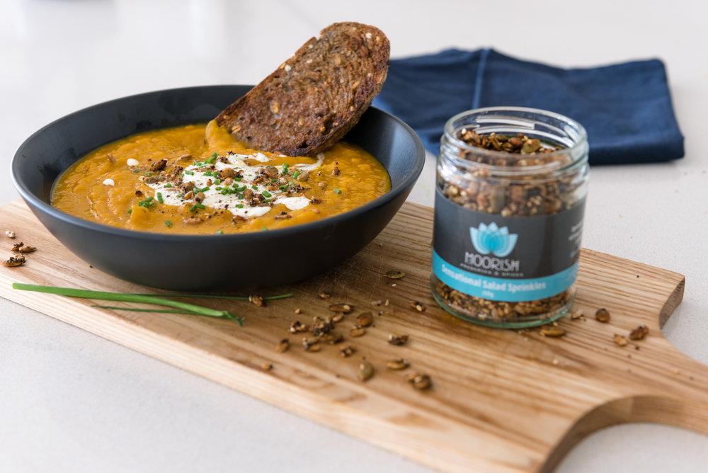 Pumpkin Soup with  Moorish  'Sensational Salad Sprinkles'
