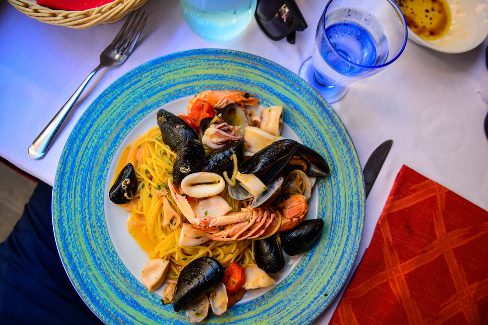 Seafood Marinara in the beautiful town of Manarola, Italy