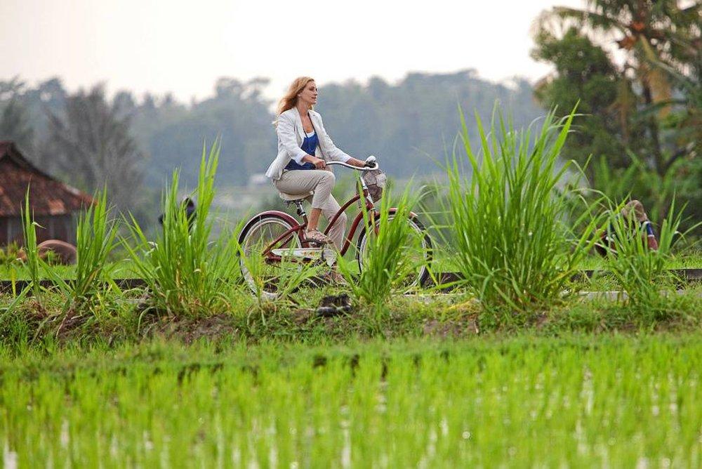Solo travel Bali paddy fields, cycling ubud