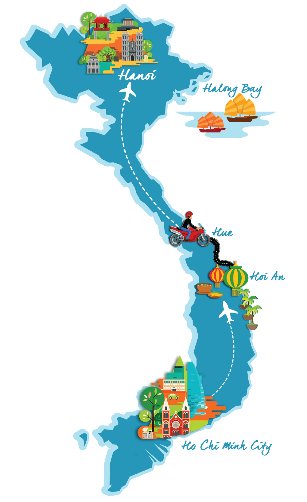 Vietnam Group Tour Map with Activities