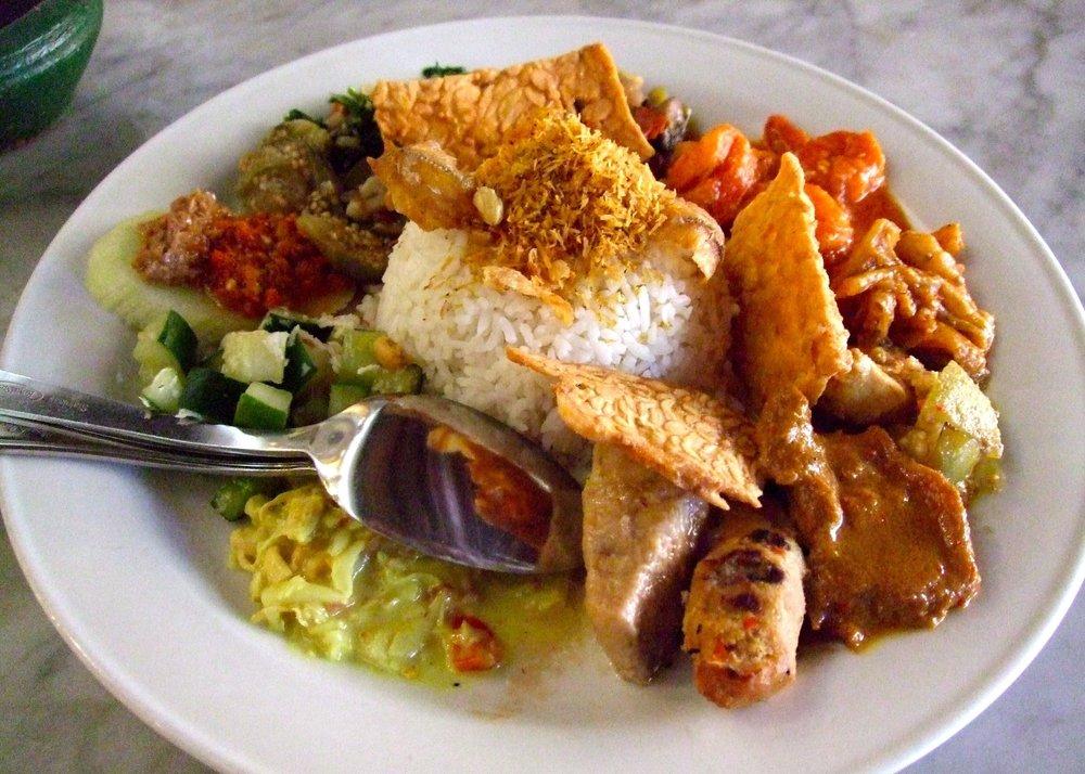 Bali Local Delicious Food. Nasi Campur