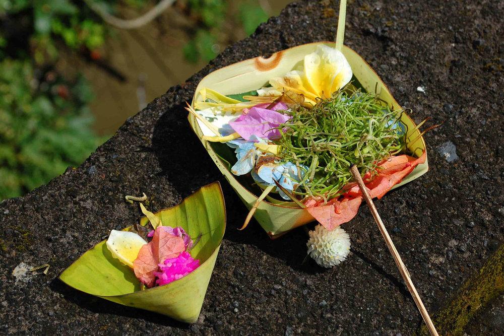 Bali prayer offerings plate