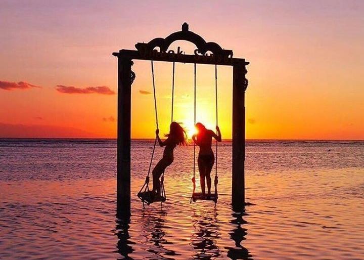 Gili islands sunset swings