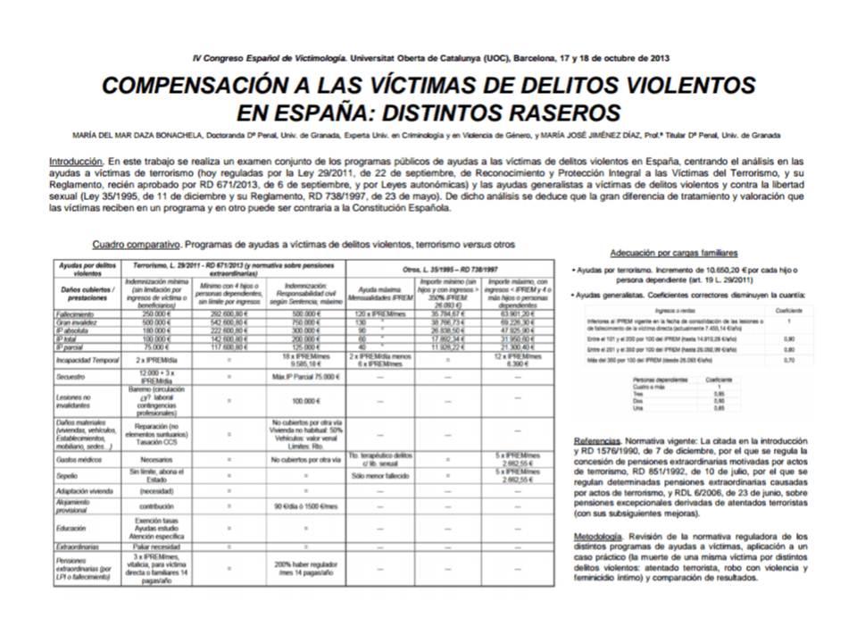 compensación a las víctimas diferentes raseros MªdelMarDaza MªJoséJiménez