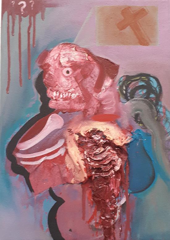 Selbstportrait 2017  35x25cm  Acryl and oil on canvas