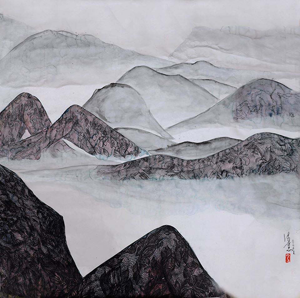 Feminine Landscape series, ink and color on silver Xuan paper, 92X86cm, 2018