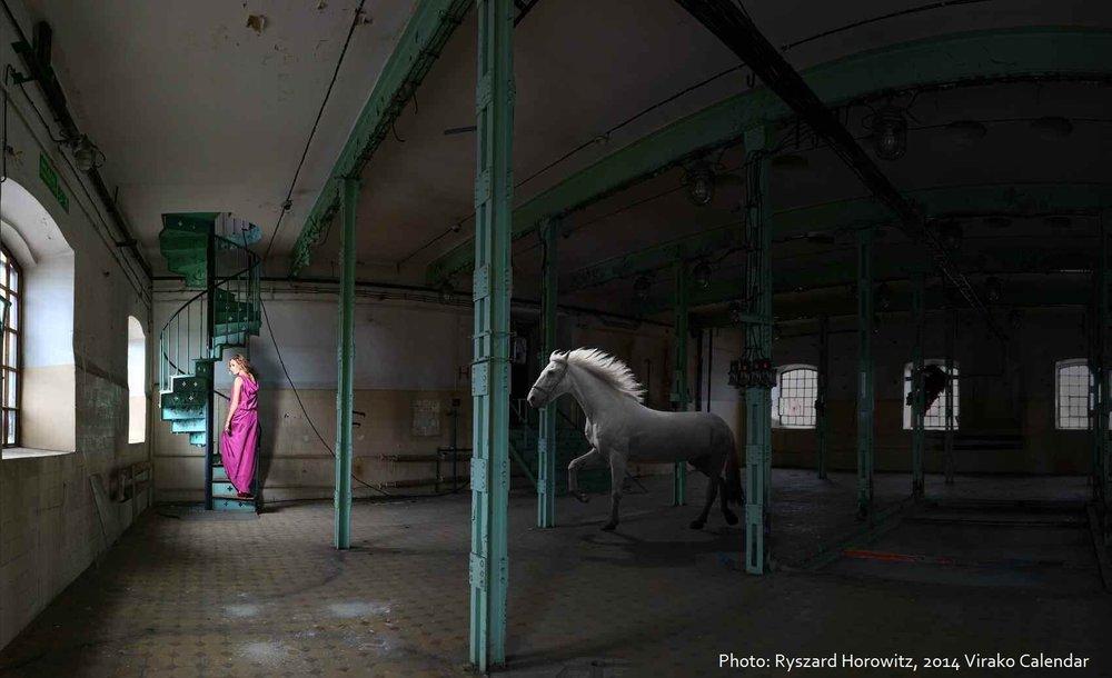 MONOPOLIS W OBIEKTYWIE RYSZARDA HOROWITZA - Ryszard Horowitz, autor fotografii do V edycji Kalendarza Virako, zaliczany jest do grona najwybitniejszych fotografów na świecie. Uznawany za prekursora obróbki komputerowej fotografii, fotokompozytor. Ręcznie tworzył fantastyczne kolaże, zanim pojawiły się programy do obróbki cyfrowej. Jego zdjęcia pokazują niesamowity, surrealistyczny świat, w którym wszystko jest możliwe. Na stałe mieszka i tworzy w USA. Fotografował m. in.dla Chanel, Diora, Barbary Carrera, Chloe, amerykańskiego Harper's Bazaar.Aby wykonać zdjęcia do niezwykłego wydawnictwa, Horowitz przyleciał w lipcu 2013 roku do Polski, do Łodzi. Przez dwa tygodnie w pofabrycznej scenerii powstawały fotografie, które wzbogaciły karty Kalendarza Virako 2014. Zobacz galerię