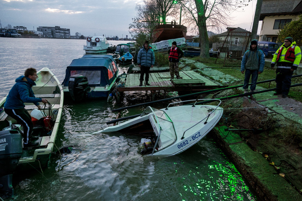 Sulina, Romania,November 2017. A boat sinking in the main channel of the Delta, which connects Sulina to the rest of Romania.