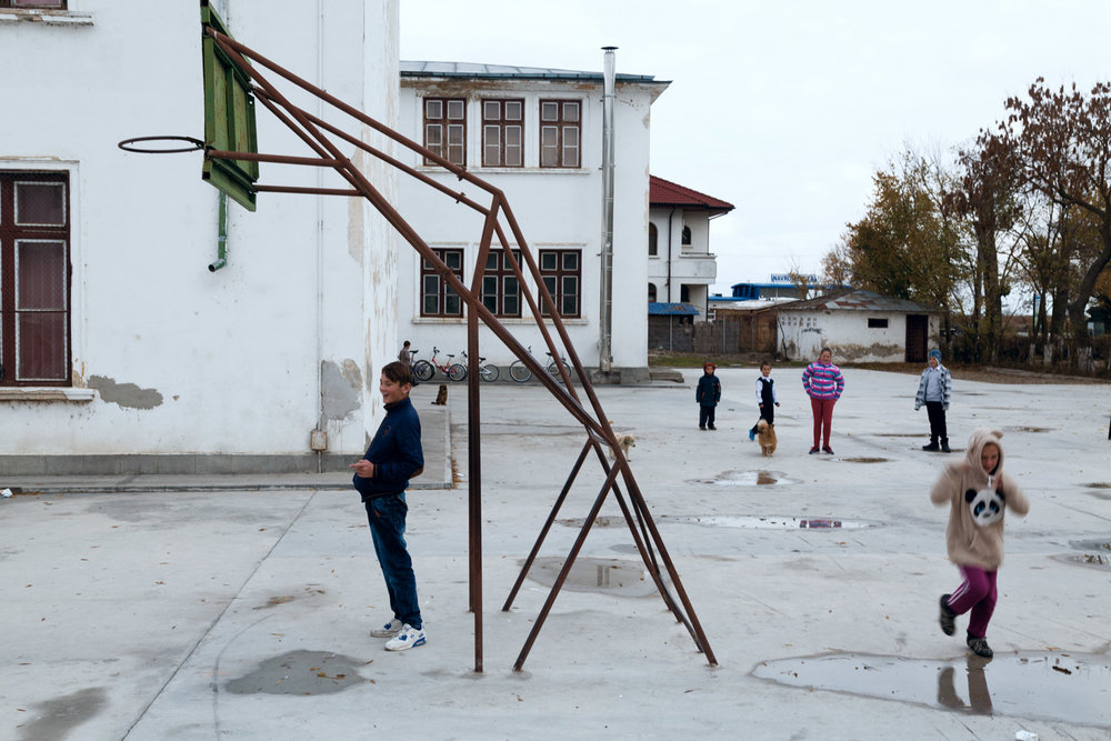 Sulina, Romania, November 2017. The schoolyard.